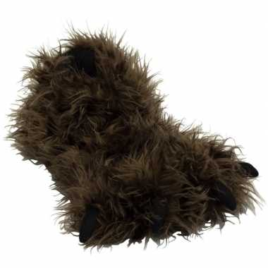Bruine monsterpoten pantoffels voor kinderen