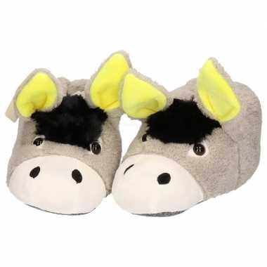 Dieren sloffen/pantoffels donkey/ezel voor meiden/dames in maat 37/38