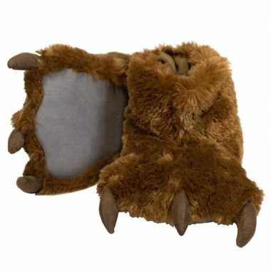 Dierenpoot pantoffels bruine beer voor kinderen