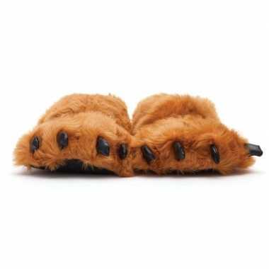 Dierenpoot pantoffels/sloffen beer voor volwassenen bruin 42/44