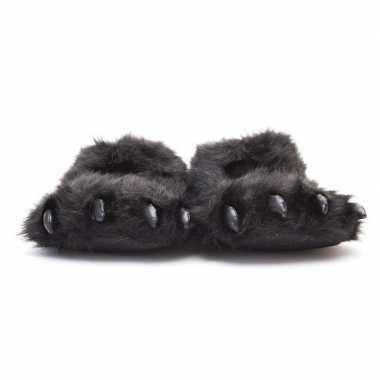Dierenpoot pantoffels/sloffen beer voor volwassenen zwart 45/47