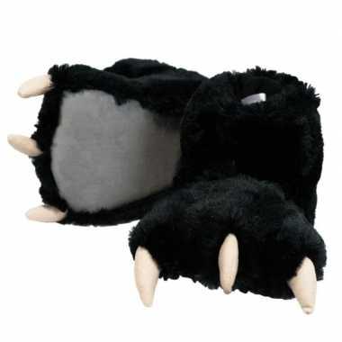 Dierenpoot pantoffels zwarte beer voor kinderen