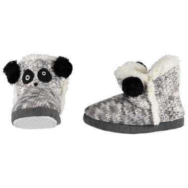 Grijs/zwart/witte sloffen/pantoffels panda voor meisjes