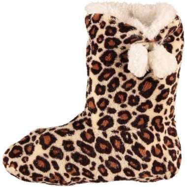 Hoge dames slof sokken met luipaard print bruin