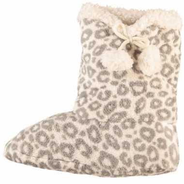 Hoge dames slof sokken met luipaard print grijs