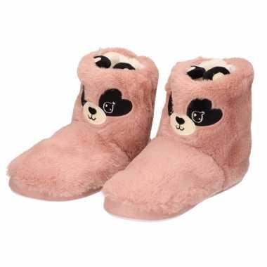 Pluche dieren sloffen/pantoffels muis/muizen roze voor dames