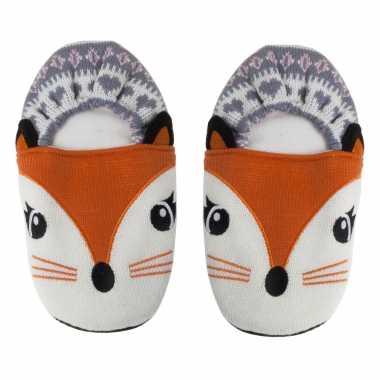 Pluche kersenpit warmte magnetron vossen sloffen/pantoffels voor volwassenen