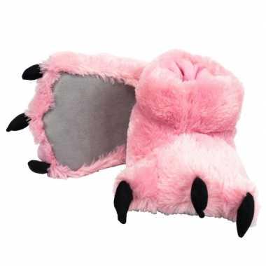Roze monsterpoten pantoffels voor kinderen