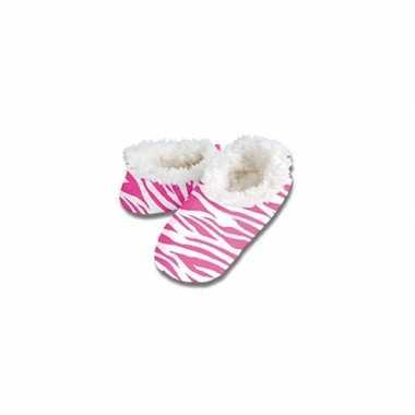 Roze zebraprint sloffen