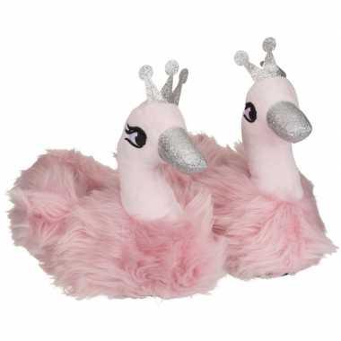 Roze zwaan dieren pantoffels/sloffen voor dames
