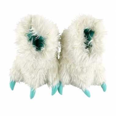 Witte monsterpoten pantoffels voor kinderen