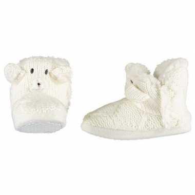 Witte sloffen/pantoffels ijsbeertje voor meisjes