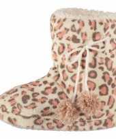 Hoge dames sloffen met luipaard print roze
